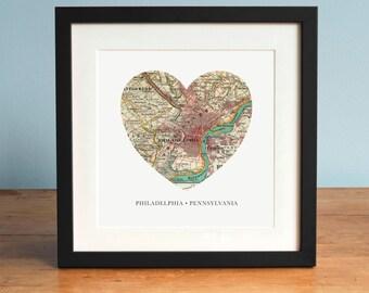 Map of Philadelphia, Philadelphia Heart Map, Pennsylvania Map, Vintage Map, Antique Map Art, Personalized Map Art, Valentines Day
