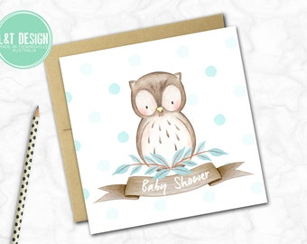 Baby Shower Card {BLUE OWL}