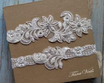 Wedding garter, Bridal garter, Ivory Garter, wedding garters, bridal garter set/ Floral lace garter, Vintage Garter, Garter set,Ivory Garter