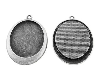 2pcs Antique Silver Tone Bezel Tray, Cabochon Setting Frame, Oval Setting, Silver Pendant, Pendant Tray, Jewellery Supplies, 30x40mm tray