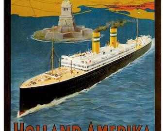 Vintage Holland America Line Travel Poster A3 Print