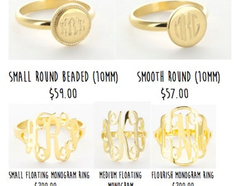 Monogrammed Sterling Silver Rings! (sizes 4-10)