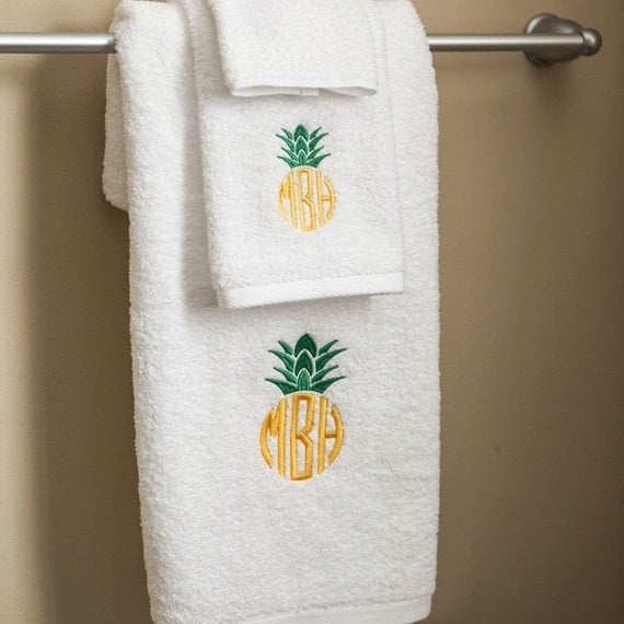 Monogram Towels For Bathroom: Pineapple Monogrammed Towels