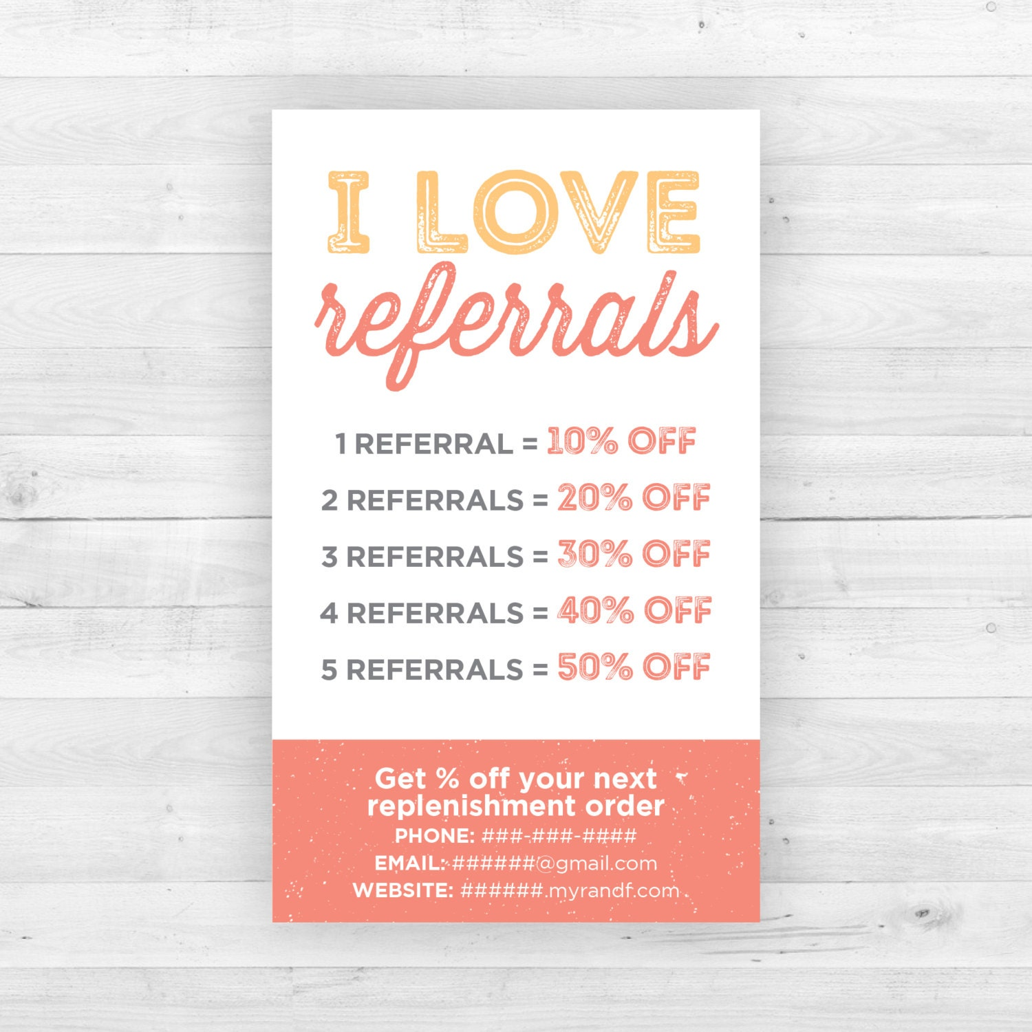 Rodan and Fields Referral Cards Customized Printable