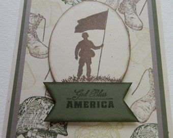 God Bless America Military Card