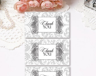 Silver Damask Wedding Tags Gift Tags Printable Tags Damask Tags Gray Tags Baby Shower Tags Elegant Tags INSTANT DOWNLOAD