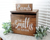 Rustic Personalized Painted Wooden Wedding Card Box LARGE - rustic wooden card box, keepstake trunk, rustic wedding card box large card box