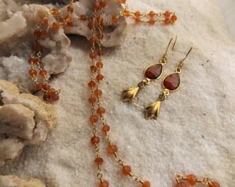 Carnelian and 24k Gold Vermeil Lily Drop Earrings