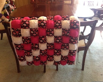 Tummy Time Puff Quilt, Pink and White Cupcake Motif, Biscuit quilt, Handcrafted, Baby Shower GIft