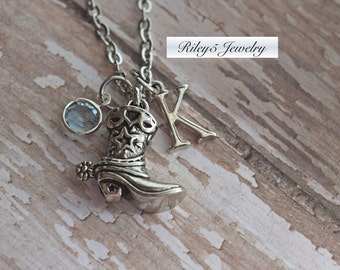 Boot Necklace, Western Necklace, Country Necklace, Cowgirl Necklace, Country Jewelry, Personalized Cowgirl Gifts, Letter Birthstone, Custom