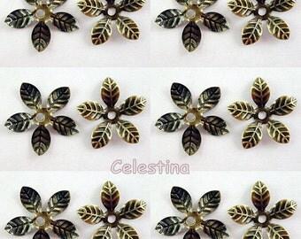 50 x Antique Bronze Bead Caps, Flower Bead Caps, Flower Bead Cone, Daisy Bead Caps, Bronze Flower Beads, 15mm Bead Caps BC40