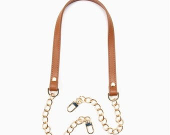 "30"" byhands Genuine Leather Shoulder Bag Strap with Metal Chain, Camel  (40-8301)"