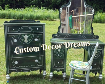 Antique Matching Dresser & Dressing table with Mirror and Chair