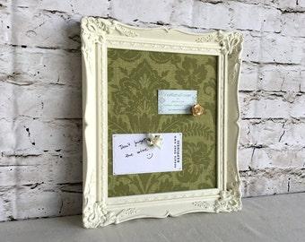 Bulletin board - ornate frame - white frame - magnetic board