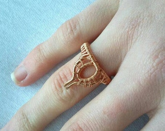 Bohochic wore wrapped bohemian ring, copper gypsy jewelry
