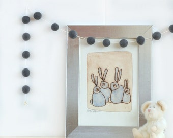 Dark Grey Felted Wool Garland - Neutral Home Decor - Kids Rooms Black and White - Baby Room - Neutral Nursery