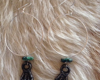 Tribal Handcrafted Silver Hoops with Turquoise