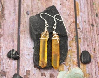 orange quartz bohemian earrings