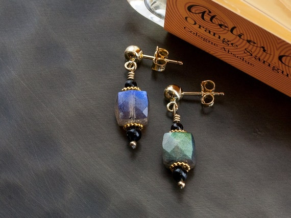 """Tiny Labradorite Gold Dangle """"Silent"""" Earrings – Onyx Accents – Artisan Handmade Wire Wrapped Jewelry – 14K Goldfill Posts"""