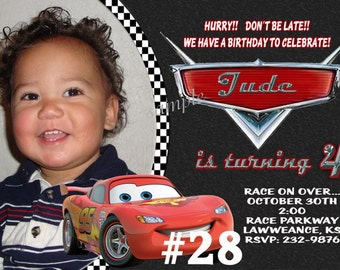Disney Cars Birthday Invitation  Printable  Digital File photo Birthday Party Invitation,  Lightning McQueen