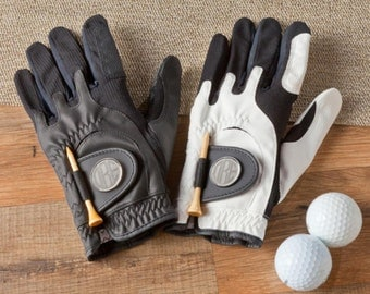 Personalized golf gloves leather glove with magnetic ball marker monogrammed engraved custom sports for golfers men hand RR10840