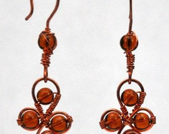 Amber czech glass and copper earrings