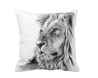 Lion Pillow Cover, Lion Home Decor, Lion Decor, Black and White Pillow Decor
