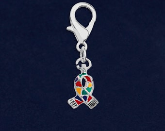 Autism Ribbon Small Hanging Charm (Retail) (RE-HC-06-2)