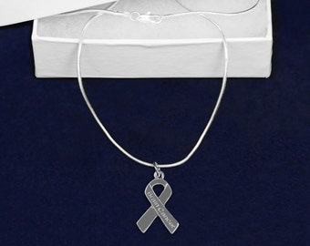 Wholesale Brain Cancer Gray Ribbon Necklaces In Gift Boxes (12 Necklaces) (N-29-7BC)