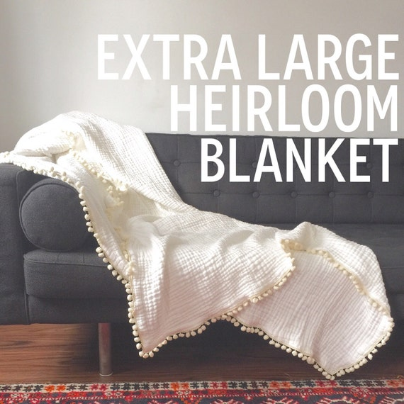 Toddler/ Twin Bed Blanket / Extra Large HEIRLOOM Blanket / White and Cream Pom Pom Throw / Twin Bed Blanket
