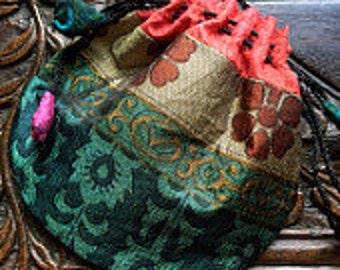 Silk Sari Drawstring Gift Bag Self-Lined