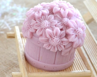 3D Flower In Bucket Candle Mold Soap Mold Mould Silicone Mold DIY Handmade