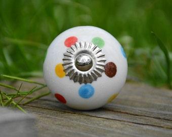 Ceramic knob/polka dot knob/rainbow knob/multi-color/cabinet knob/drawer pull/handle/unique/decorative/primary/colorful/baby/kids/kitchen