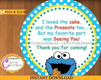 Cookie monster label etsy instant download cookie monster favor tags sticker sesame street party tags negle Choice Image