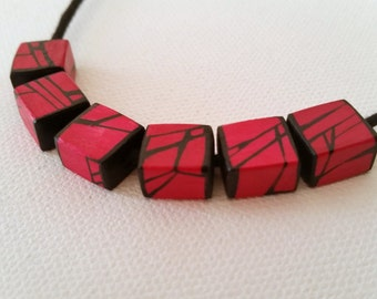 Red Geometric Wood Necklace