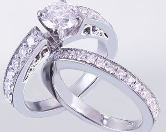 14k White Gold Round Cut Diamond Engagement Ring And Band Art Deco Antique Style 1.05ctw
