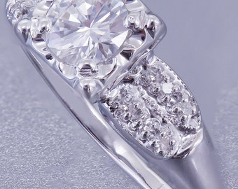 14k White Gold Round Cut Diamond Engagement Ring Art Deco Antique Style 0.70ctw