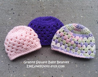 Granny Square Baby Beanie - Baby Shower Gift - New Baby Gift - All sizes available - Mommy and Me Gift Idea - Custom Made Baby Hat