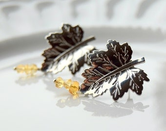 White Gold Citrine Leaf Earrings, Citrine Earrings, White Gold Leaf Earrings, November Birthstone Earrings, Gift for Her, Gift for Mom