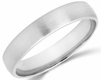 10K Solid White Gold 4mm Brush Finish Wedding Band Ring