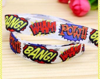 Boom Bang Wham Superhero 5/8inch 16mm FOE Elastic for hair ties and headbands By The Yard Pow Zap