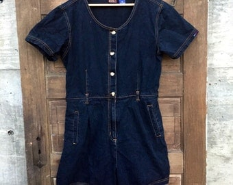 Vintage 90's Denim Romper by Gloria Vanderbilt size Medium