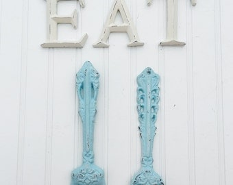 EAT Sign With Fork And Spoon - Kitchen Decor - Wall Decor - Bistro - Dining Room Wall Decor