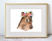 Woodland Flowers - Bear Addition - Boho Illustration Watercolor Painting Print - Home decor and wall art