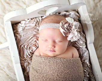 """Beige and Cream Rolled Satin and Ciffon Headband 3/4"""" Lace Band MANY COLORS OPTIONS Just ask if you would like this in Other Colors"""