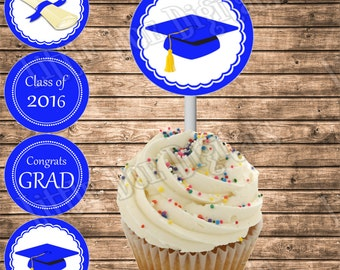 DIY Printable Graduation 2016 Blue and White Cupcake Toppers