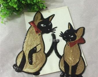 Cat sequined applique patch Paillette embroidered patch T-shirt or Coat decoration patch applique