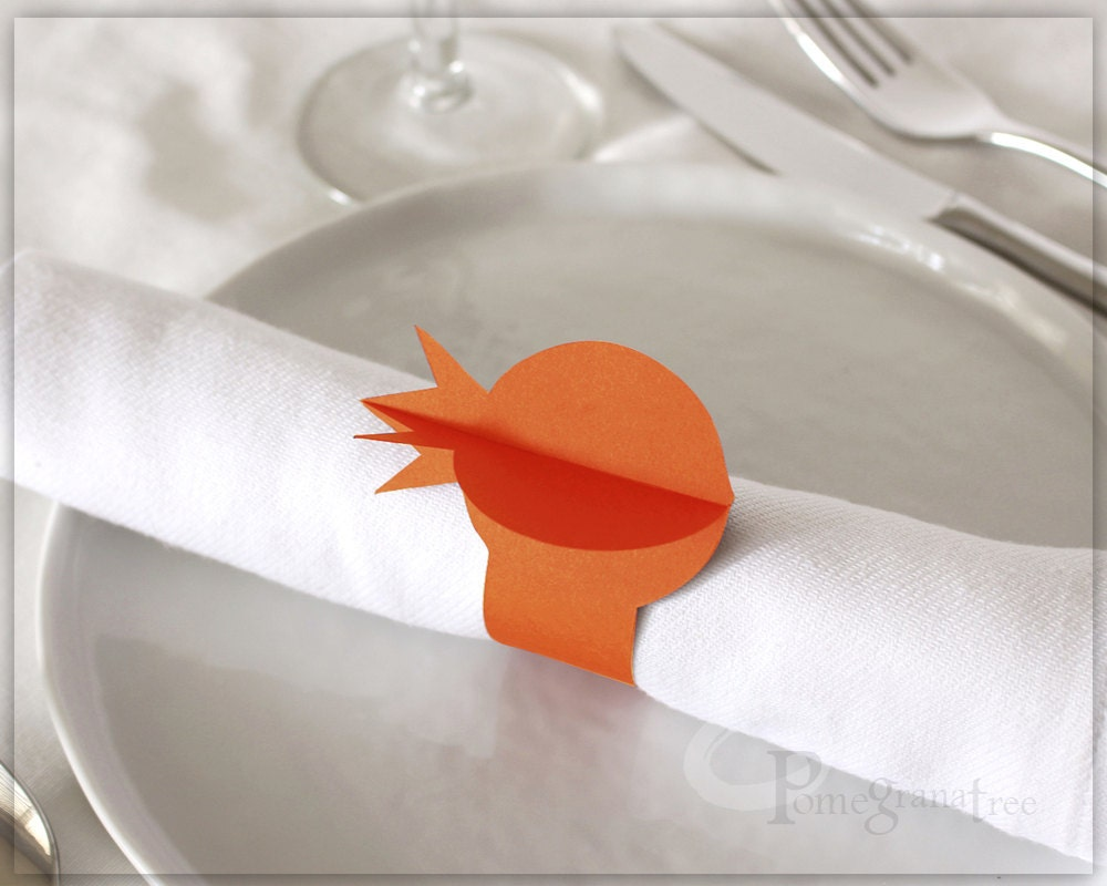 pomegranate paper napkin rings rosh hashanah table decor. Black Bedroom Furniture Sets. Home Design Ideas