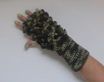Camo Dragon Fingerless Gloves