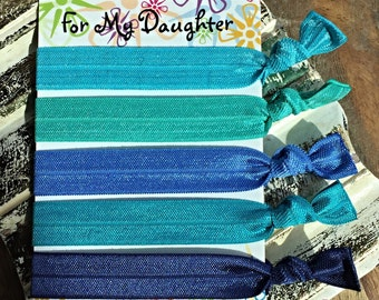 SALE- Into The Blue- 5 Pack of Elastic Hair Ties/ Bracelets/ Yoga Hair Ties
